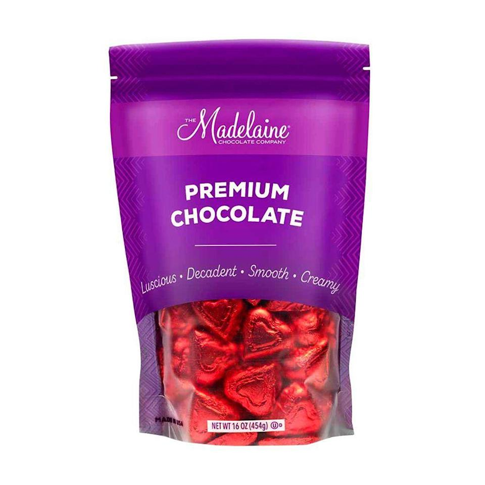 """<p><strong>The Madelaine Chocolate Company</strong></p><p>amazon.com</p><p><strong>$14.99</strong></p><p><a href=""""https://www.amazon.com/dp/B006W93BE0?tag=syn-yahoo-20&ascsubtag=%5Bartid%7C2089.g.904%5Bsrc%7Cyahoo-us"""" rel=""""nofollow noopener"""" target=""""_blank"""" data-ylk=""""slk:Shop Now"""" class=""""link rapid-noclick-resp"""">Shop Now</a></p><p>We're a sucker for the classics, and these Madelaine red foil-wrapped milk chocolate hearts are as classic as it gets! These treats are perfect for stashing at your desk or in your backpack.</p>"""