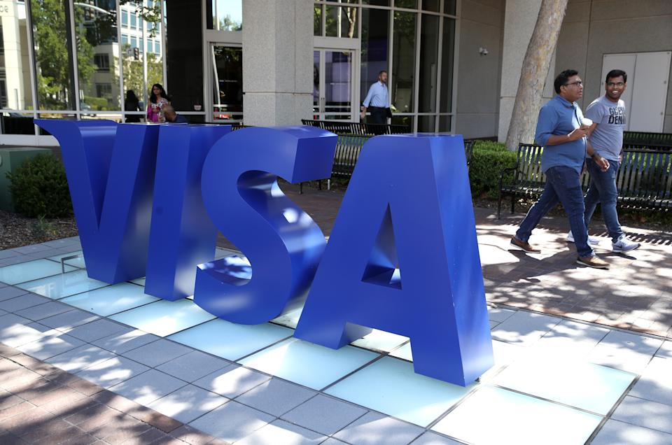 A sign is posted in front of Visa headquarters on 28 August, 2019 in Foster City, California. Visa users have reported issues with failed payments on Sunday, 24, January, 2021. (Getty Images)