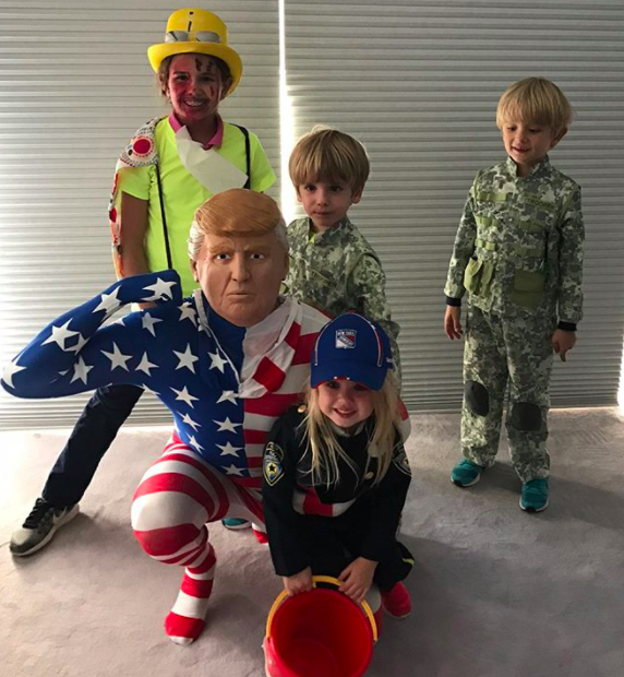 """<p>Creative! Donald Trump Jr., the son of the 45th president, wore a mask of his dad's face for trick-or-treating with his children in NYC. (Photo: <a href=""""https://www.instagram.com/p/Ba7WNxZDPe4/?taken-by=donaldjtrumpjr"""" rel=""""nofollow noopener"""" target=""""_blank"""" data-ylk=""""slk:Donald Trump Jr. via Instagram"""" class=""""link rapid-noclick-resp"""">Donald Trump Jr. via Instagram</a>) <br><br></p>"""