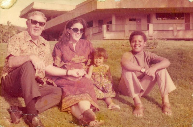 Barack Obama (left) with his sister, mother and grandfather in Hawaii in the 1970s | Courtesy The Obama Foundation