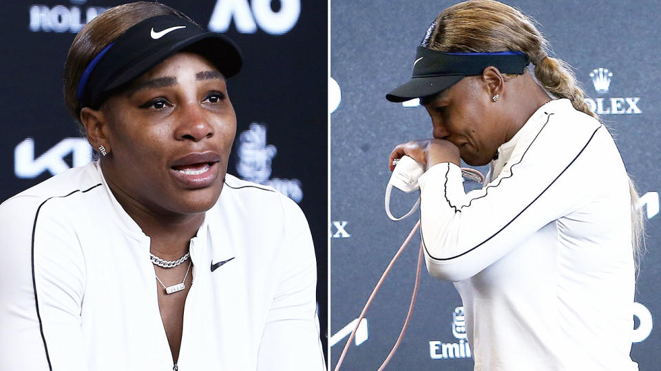 Serena Williams, pictured here breaking down in tears at the Australian Open.