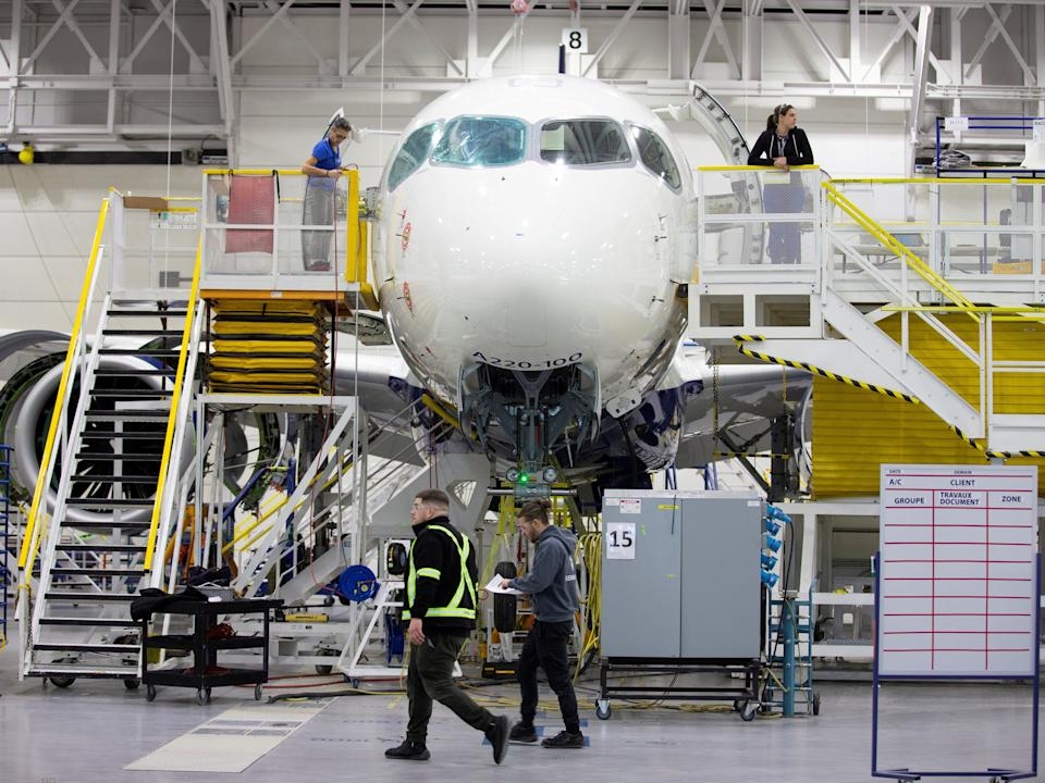 Building a Bombardier CSeries aircraft.