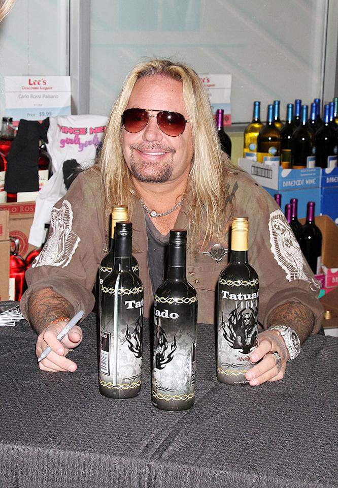 87173, LAS VEGAS, NEVADA- Saturday November 17, 2012. 'Motley Crue' frontman Vince Neil launches his new Tatuado Vodka at Lee's Discount Liquor in Las Vegas.  Photograph: © CPA, PacificCoastNews.com **FEE MUST BE AGREED PRIOR TO USAGE** **E-TABLET/IPAD & MOBILE PHONE APP PUBLISHING REQUIRES ADDITIONAL FEES** LOS ANGELES OFFICE:  1 310 822 0419 LONDON OFFICE:  44 20 8090 4079