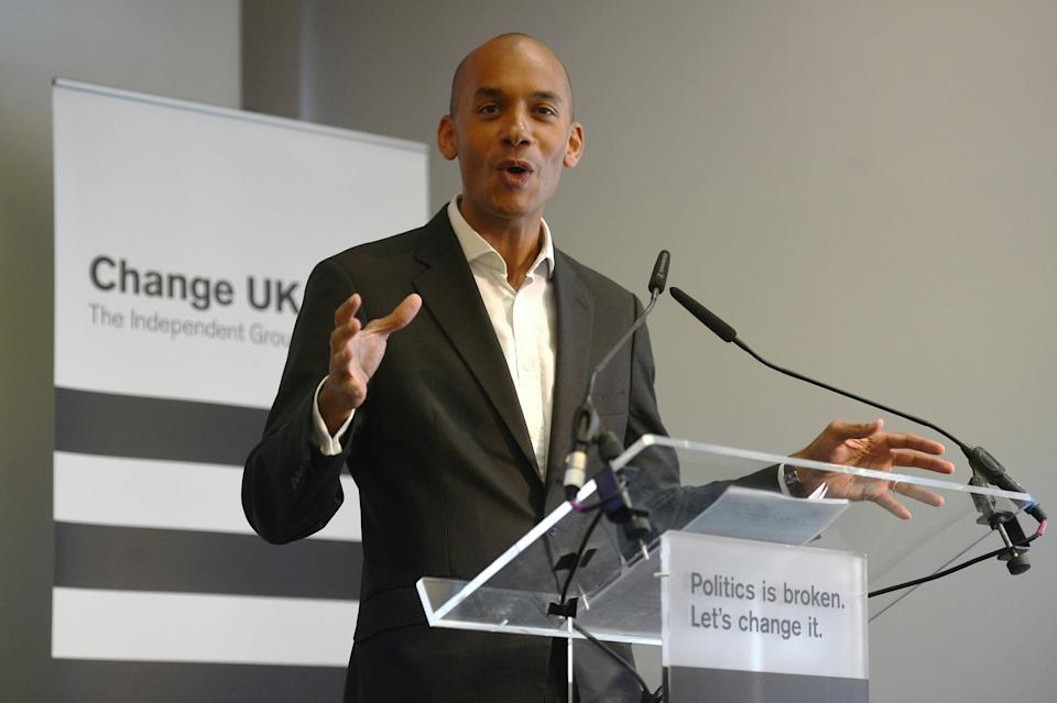 Chuka Umunna speaks during a pro EU-party Change UK rally at Church House in Westminster, London, Tuesday April 30, 2019. (Kirsty O'Connor/PA via AP)