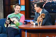 <p>Jason Sudeikis and a pair of cute pups guest star on <em>The Late Show with Stephen Colbert</em> in N.Y.C. on July 20.</p>