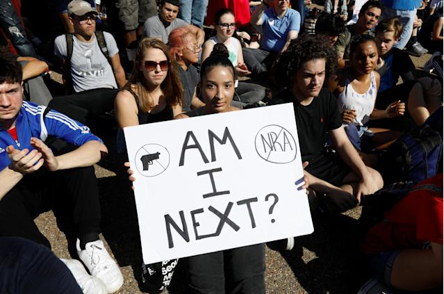 <p>Students who walked out of their Montgomery County, Maryland, schools protest against gun violence in front of the White House in Washington, Feb. 21, 2018. (Photo: Kevin Lamarque/Reuters) </p>