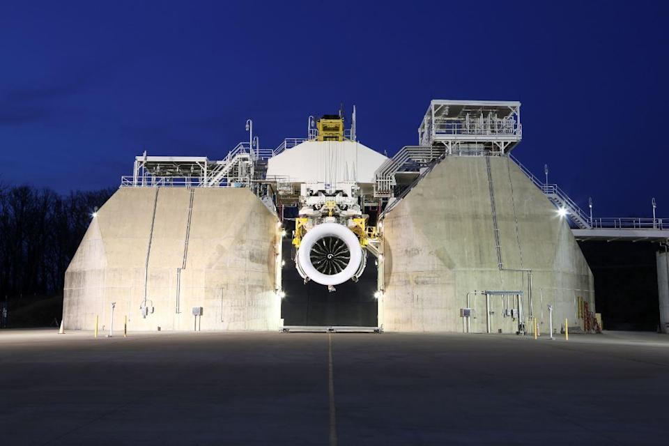 A GE9X engine in an outdoor test facility.