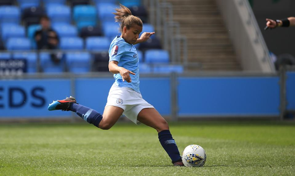 Manchester City's Nikita Parris celebrates scoring to make it 1-1 during the match between Manchester City Women and Yeovil Ladies at The Academy Stadium in Manchester, England, 2019 (Photo: Tom Flathers/Man City via Getty Images)