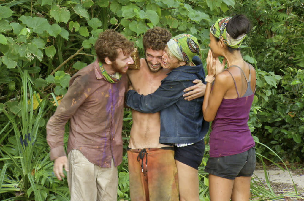 """""""Don't Say Anything About My Mom"""" - John Cochran, Edward """"Eddie"""" Fox, Dawn Meehan and Brenda Lowe during the thirteenth episode of """"Survivor: Caramoan - Fans vs. Favorites."""""""
