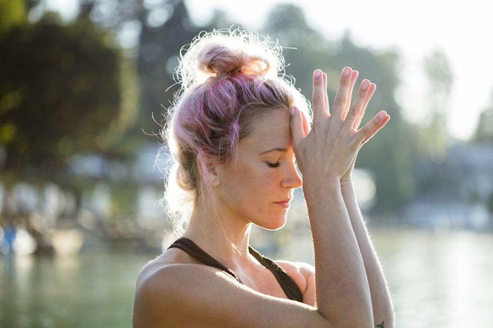 "<p>When you're feeling down about your body, remind yourself of all the good things it can do. This is a great <a href=""https://www.popsugar.com/fitness/find-peace-at-home-with-this-10-minute-guided-meditation-47320225"" class=""link rapid-noclick-resp"" rel=""nofollow noopener"" target=""_blank"" data-ylk=""slk:opportunity to use meditation"">opportunity to use meditation</a> to center your mind. ""Acknowledging the usefulness of our bodies can be a way to extend kindness to ourselves,"" <a href=""http://lisaslarsen.com"" class=""link rapid-noclick-resp"" rel=""nofollow noopener"" target=""_blank"" data-ylk=""slk:Lisa S. Larsen"">Lisa S. Larsen</a>, PsyD, told POPSUGAR. ""Doing meditations that focus on body awareness without judgment can also be very helpful.""</p> <p>Dr. Larsen suggests focusing a breath on each part of your body while you name, acknowledge, and appreciate it. ""Acknowledging and appreciating each body part can start to forge a friendlier, <a href=""https://www.popsugar.com/fitness/Why-You-Dont-Need-Love-Your-Body-46400655"" class=""link rapid-noclick-resp"" rel=""nofollow noopener"" target=""_blank"" data-ylk=""slk:more neutral relationship"">more neutral relationship</a> with one's own body,"" she said.</p>"