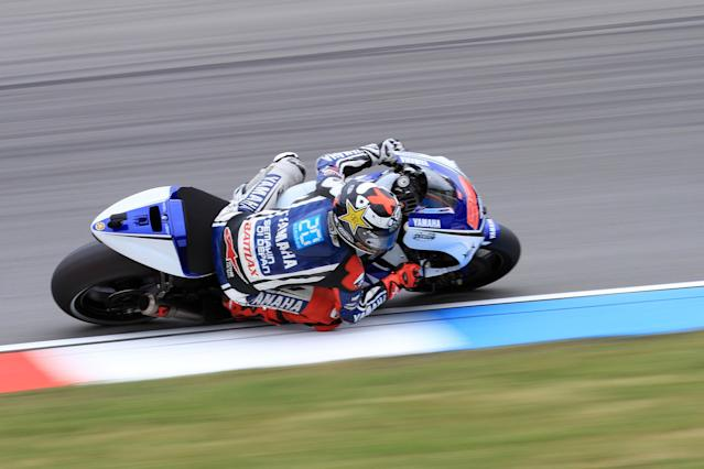Jorge Lorenzo of Spain wins the qualifying pratice session of the Czech Republic Grand Prix in Moto GP on August 25, 2012 in Brno ahead of the Grand prix on August 26. AFP PHOTO/RADEK MICARADEK MICA/AFP/GettyImages
