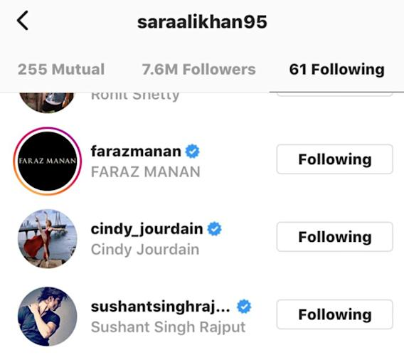 Sara Ali Khan follows Sushant Singh Rajput
