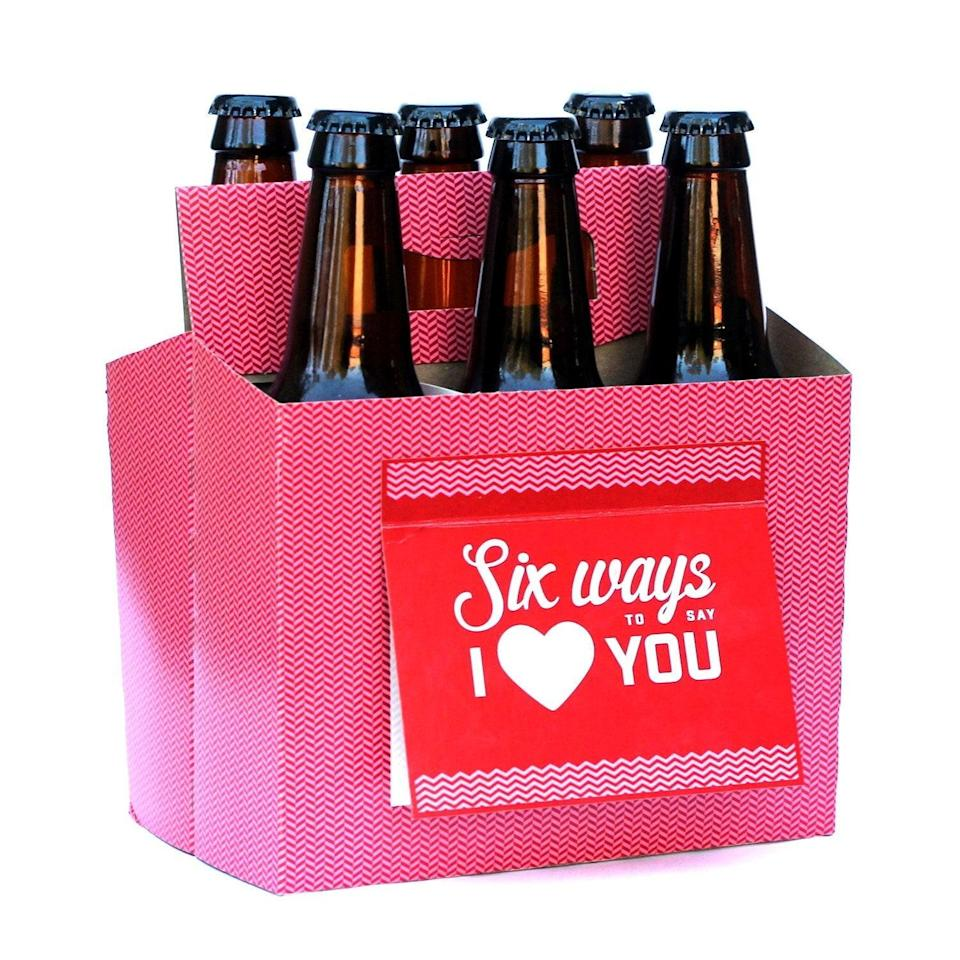<p>Put your significant other's favorite beer in this <span> Six-Pack Greeting Card Box</span> ($16). </p>