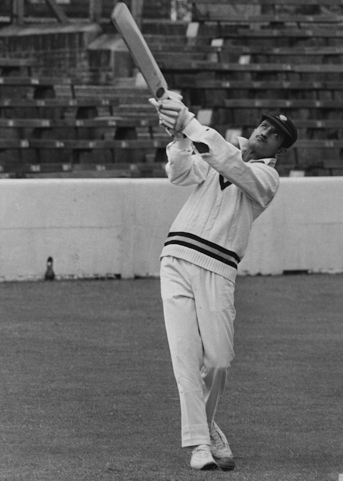 21st June 1971:  Indian skipper Ajit Wadekar bats at the Oval.  (Photo by Central Press/Getty Images)
