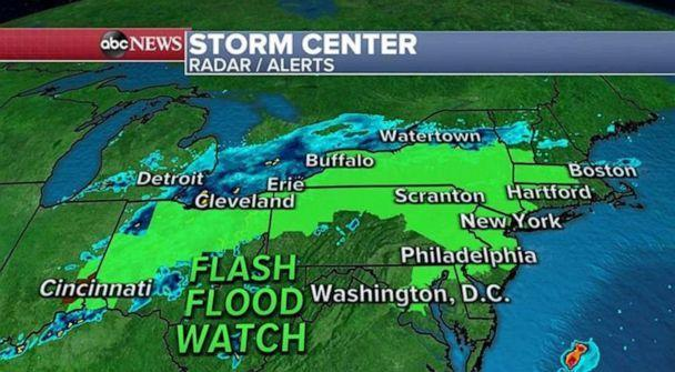 PHOTO: Flash flood watches are in effect from Indiana to Massachusetts. The rainfall threat across parts of the northeast is particularly concerning. The region is well above average for rainfall. (ABC News)