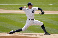 New York Yankees starting pitcher Corey Kluber throws during the first inning of a baseball game against the Detroit Tigers at Yankee Stadium, Sunday, May 2, 2021, in New York. (AP Photo/Seth Wenig)