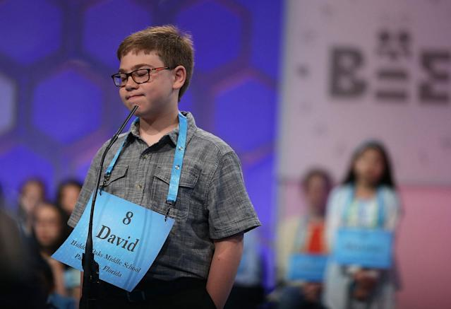 <p>David Scot Firestone of Palm City, Fla., reacts after he misspelled his word during round two of 2017 Scripps National Spelling Bee. (Alex Wong/Getty Images) </p>
