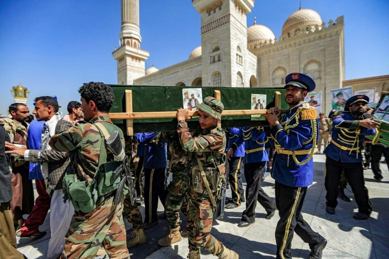 Huthi supporters held funerals for fallen fighters in Sanaa on Tuesday as the battle raged in nearby Marib