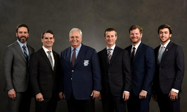 Rick Hendrick (C) with his drivers when he was inducted into the NASCAR Hall of Fame earlier this year. (Getty)