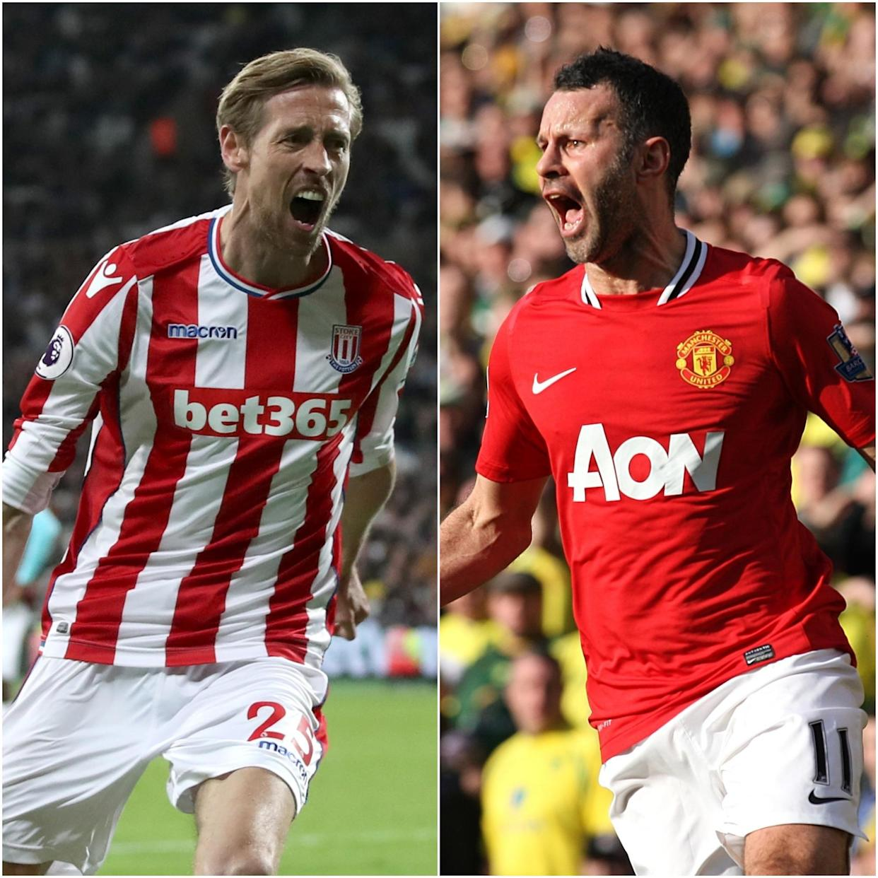 Peter Crouch, left, and Ryan Giggs