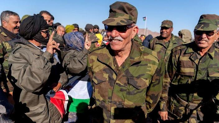 President of the Saharawi Arab Democratic Republic (SADR) Brahim Ghali during the manoeuvres of the Democratic Arab Republic of Saharawi army in the fourth military region in the north-east of Western Sahara on January 6, 2019 in Mehaires, Western Sahara