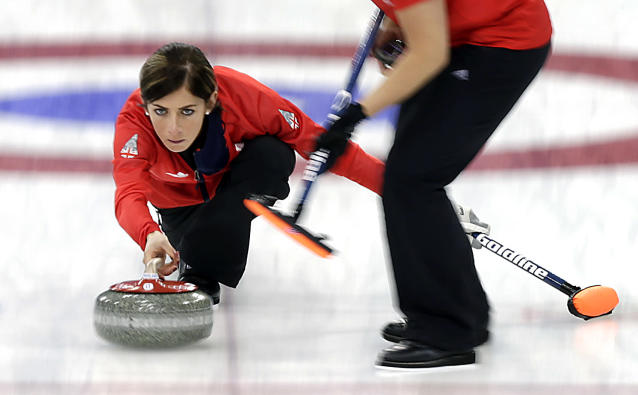 Britain's skip Eve Muirhead delivers the rock during the women's curling bronze medal game against Switzerland at the 2014 Winter Olympics, Thursday, Feb. 20, 2014, in Sochi, Russia. (AP Photo/Wong Maye-E)