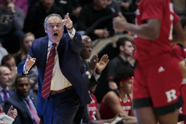 Rutgers coach Steve Pikiell calls to his players during the first half of the team's NCAA college basketball game against Purdue in West Lafayette, Ind., Tuesday, Jan. 15, 2019. Purdue won 89-54. (AP Photo/AJ Mast)