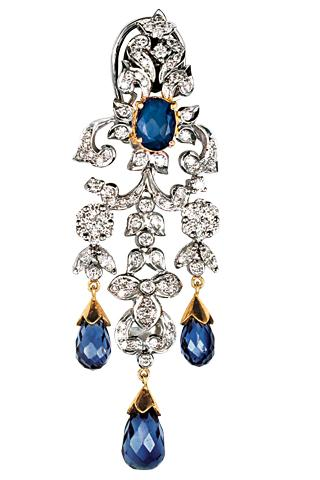 Diamonds and sapphires set in white gold earrings by Bholasons