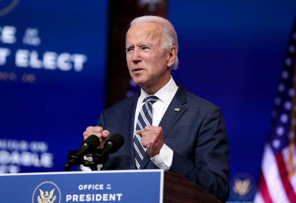 PHOTO: President-elect Joe Biden addresses the media about the Trump Administration's lawsuit to overturn the Affordable Care Act, Nov. 10, 2020, at the Queen Theater in Wilmington, Delaware. (Joe Raedle/Getty Images)
