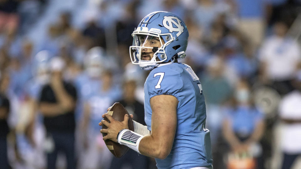 North Carolina's Sam Howell (7) looks to pass during an NCAA football game on Saturday, Sept. 11, 2021, in Chapel Hill, N.C. (AP Photo/Ben McKeown)