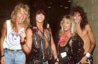 """<p>The Los Angeles based band was formed in 1981 – and featured bassist Nikki Sixx, drummer Tommy Lee, lead guitarist Mick Mars and vocalist Vince Neil. The Crüe are known for big hits like """"Dr. Feelgood"""", """"Smokin' in the Boys Room"""", """"Home Sweet Home"""" and """"Shout at the Devil."""" Drummer Tommy Lee was famous for some of his over the top stunts like a drum kit that spun upside down as well as his dating life.</p>"""
