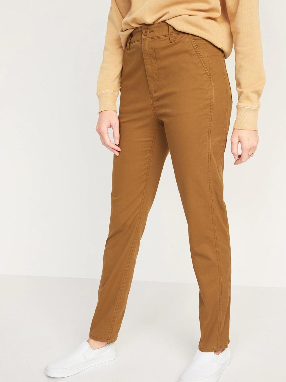 <p>These honey-hued <span>Old Navy High-Waisted O.G. Straight Chino Pants</span> ($35) are twill with bonus stretch, so they're a good pick if you don't love stiff pants.</p>