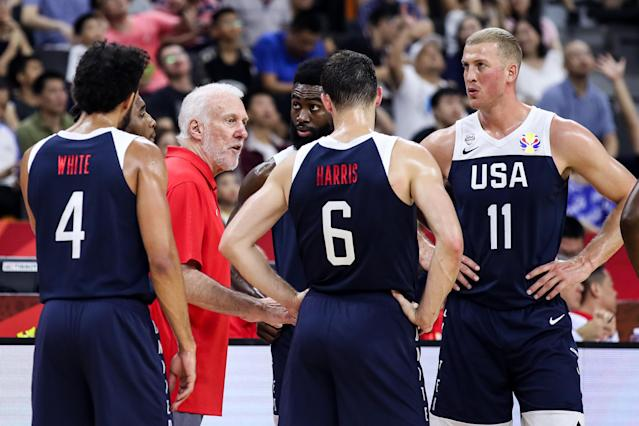 DONGGUAN, CHINA - SEPTEMBER 12: Gregg Popovich coach of USA talks to the players during the games 5-8 of 2019 FIBA World Cup between Serbia and USA at Dongguan Basketball Center on September 12, 2019 in Dongguan, China. (Photo by Zhizhao Wu/Getty Images)