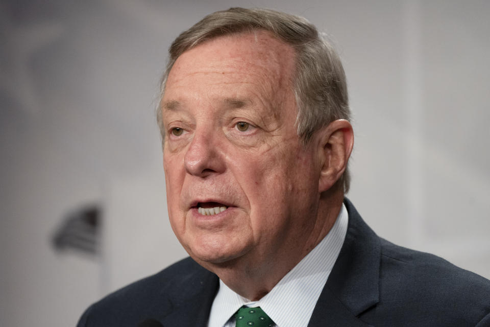 Sen. Dick Durbin, D-Ill., speaks to the media, Tuesday, March 2, 2021, on Capitol Hill in Washington. (AP Photo/Jacquelyn Martin)