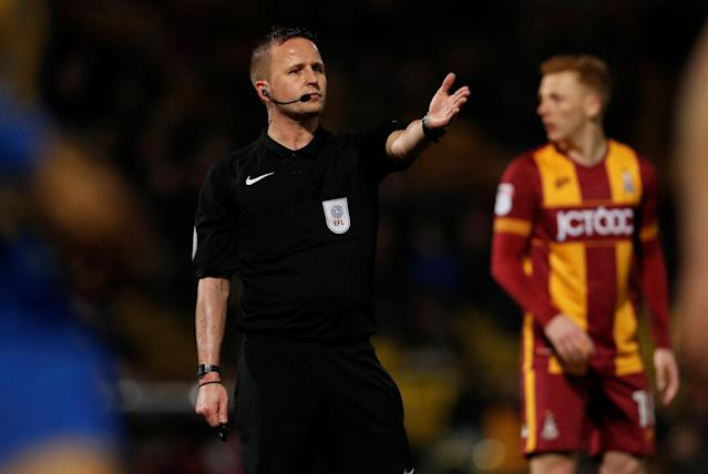 "Soccer Football - League One - Bradford City vs Shrewsbury Town - Northern Commercials Stadium, Bradford, Britain - April 12, 2018 Referee David Webb gestures Action Images/Lee Smith EDITORIAL USE ONLY. No use with unauthorized audio, video, data, fixture lists, club/league logos or ""live"" services. Online in-match use limited to 75 images, no video emulation. No use in betting, games or single club/league/player publications. Please contact your account representative for further details."