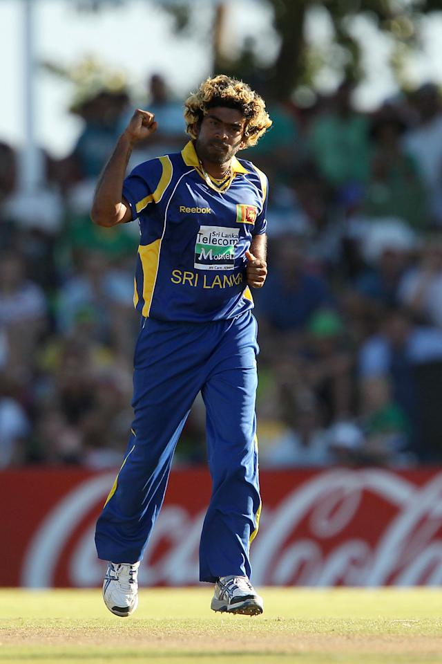 Lasith Malinga of Sri Lanka celebrates the wicket of Dale Steyn of South Africa on January 11, 2012 during the first one-day International match between South Africa and Sri Lanka at the Boland Park Stadium in Paarl. AFP PHOTO/ RON GAUNT (Photo credit should read RON GAUNT/AFP/Getty Images)