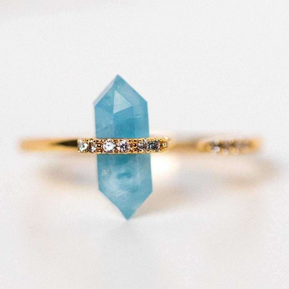 """<h2>March: Aquamarine<br></h2><br><strong>The Signs: Pisces & Aries<br></strong><br>Aquamarine's name, says Oldershaw, """"derives from the Latin <em>aqua</em> for water and <em>mare</em> for the sea, and many superstitions and legends about the sea have been attached to the gemstone for many years. When it is immersed in water, the stone is practically invisible."""" This transparency complements a Pisces' intuitive personality, and direct, no-bullshit Aries will appreciate the stone's clarity.<br><br><strong>Joy Dravecky</strong> Nouveau Ring with Aquamarine, $, available at <a href=""""https://go.skimresources.com/?id=30283X879131&url=https%3A%2F%2Fwww.localeclectic.com%2Fproducts%2Fnouveau-ring-with-aquamarine%3Fvariant%3D32179657736270"""" rel=""""nofollow noopener"""" target=""""_blank"""" data-ylk=""""slk:Local Eclectic"""" class=""""link rapid-noclick-resp"""">Local Eclectic</a>"""