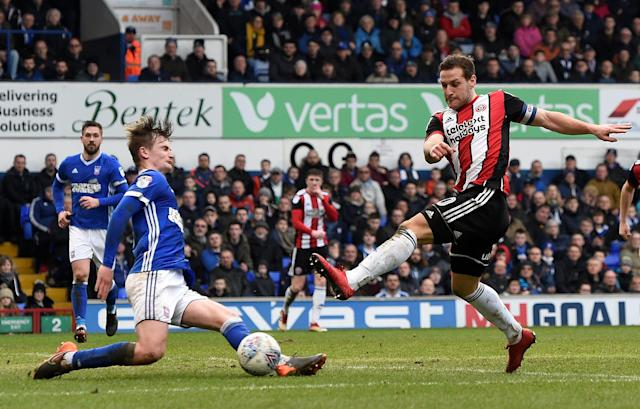 "Soccer Football - Championship - Ipswich Town vs Sheffield United - Portman Road, Ipswich, Britain - March 10, 2018 Sheffield United's Billy Sharp shoots at goal Action Images/Alan Walter EDITORIAL USE ONLY. No use with unauthorized audio, video, data, fixture lists, club/league logos or ""live"" services. Online in-match use limited to 75 images, no video emulation. No use in betting, games or single club/league/player publications. Please contact your account representative for further details."