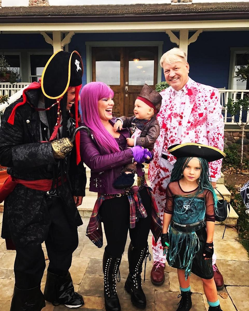"""<p>For P!nk and Carey, Halloween is a <a href=""""https://www.instagram.com/p/Ba7oRFAl1NK/?utm_source=ig_embed"""" rel=""""nofollow noopener"""" target=""""_blank"""" data-ylk=""""slk:family affair"""" class=""""link rapid-noclick-resp"""">family affair</a>. In 2017, they dressed up as the cast from Disney Channel's <em>Descendants </em>2<em>, </em>the sequel to the network's film about the children of famous Disney villains.<br></p>"""