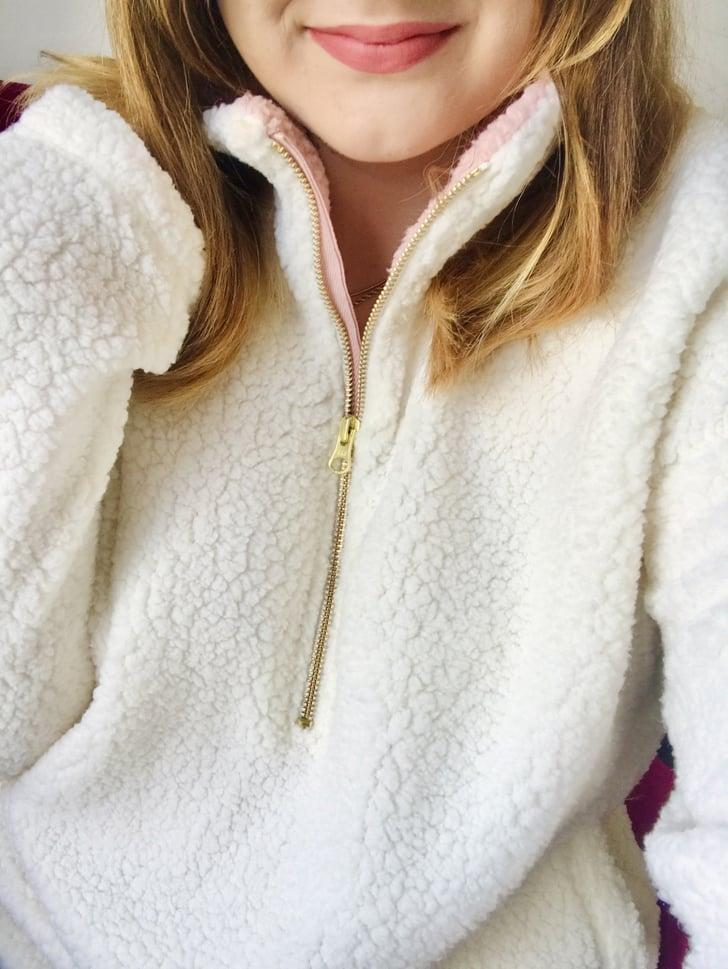"""<p><strong>The item: </strong><span>Old Navy Curve Sherpa 1/4-Zip Pullover</span> (Sold Out) </p><p><strong>What our editor said:</strong> """"Being cozy is always my priority, even when it's May. On chillier nights or when I'm working from home, I like to wear clothes that are easy to lounge around in. Enter the Old Navy Plush Sherpa 1/4-Zip Pullover - when I wear this, I feel like I'm living inside a cloud. It's incredibly soft and includes the perfect side pockets that fit my phone. Besides being ridiculously comfortable, this pullover is also quite cute. I love the pop of pink on the collar, and the zipper is rose gold."""" - MCW</p> <p>If you want to read more, here is the <a href=""""https://www.popsugar.com/fashion/best-cheap-sherpa-sweatshirt-for-women-47442275"""" class=""""link rapid-noclick-resp"""" rel=""""nofollow noopener"""" target=""""_blank"""" data-ylk=""""slk:complete review"""">complete review</a>.</p>"""
