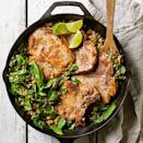 "<p>In this easy main dish recipe, pork chops are paired with farro and spinach in a zesty peanut butter-lime sauce. This one-skillet meal will be on the table in under 30 minutes and requires minimal cleanup. <a href=""http://www.eatingwell.com/recipe/266577/garlic-lime-pork-with-farro-spinach/"" rel=""nofollow noopener"" target=""_blank"" data-ylk=""slk:View recipe"" class=""link rapid-noclick-resp""> View recipe </a></p>"