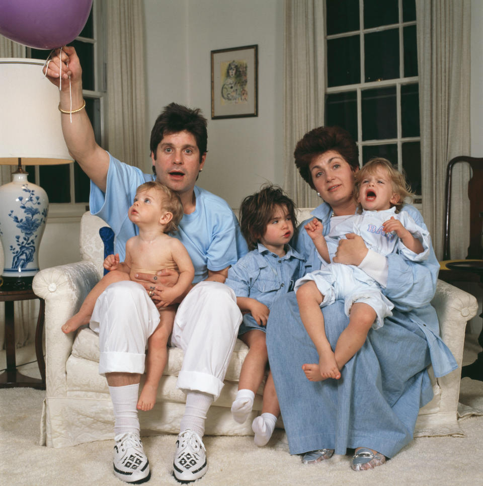 Ozzy Osbourne and wife Sharon and their children Aimee, Kelly and Jack, USA, 1987. (Photo by Dave Hogan/Hulton Archive/Getty Images)