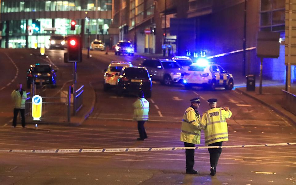 The scene near Manchester Arena after Salman Abedi detonated his homemade bomb. (PA)