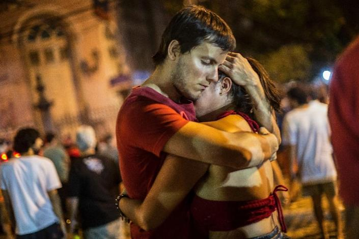 Supporters of Brazil's left-wing presidential candidate Fernando Haddad, pictured in Rio on October 28, 2018, were left reeling by the victory of far-right former army captain Jair Bolsonaro (AFP Photo/Daniel RAMALHO)