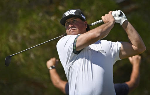 Pat Perez tees off on the first hole during the final round of Shriners Hospitals for Children Open golf tournament Sunday, Oct. 6, 2019, in Las Vegas. (AP Photo/David Becker)