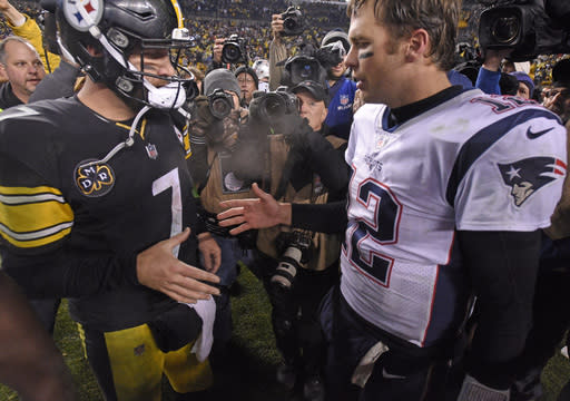 FILE - In this Dec. 17, 2017, file photo, Pittsburgh Steelers quarterback Ben Roethlisberger (7) and New England Patriots quarterback Tom Brady (12) meet on the field following an NFL football game in Pittsburgh. New England plays at Pittsburgh on Sunday, Dec. 16, 2018 (AP Photo/Don Wright, File)