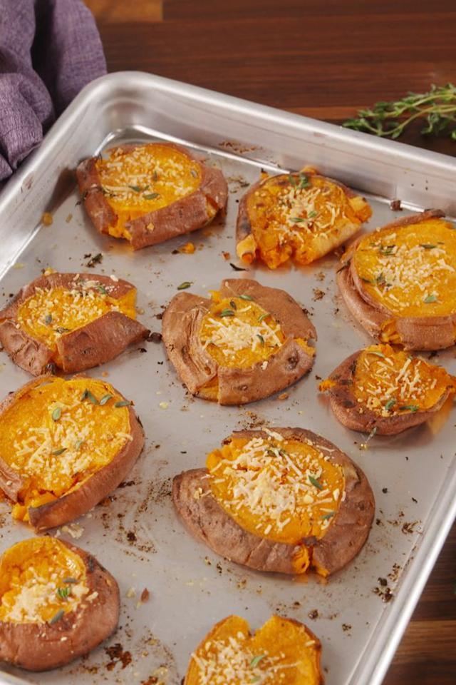 """<p>Smashing good.</p><p>Get the recipe from <a rel=""""nofollow"""" href=""""https://www.delish.com/cooking/recipe-ideas/recipes/a58272/smashed-sweet-potatoes-recipe/"""">Delish</a>.</p><p><a rel=""""nofollow"""" href=""""https://www.amazon.com/OXO-Stainless-Potato-Masher-Cushioned/dp/B00004OCJK"""">BUY NOW</a> <strong><em>Potato Masher, $12, amazon.com</em></strong></p>"""