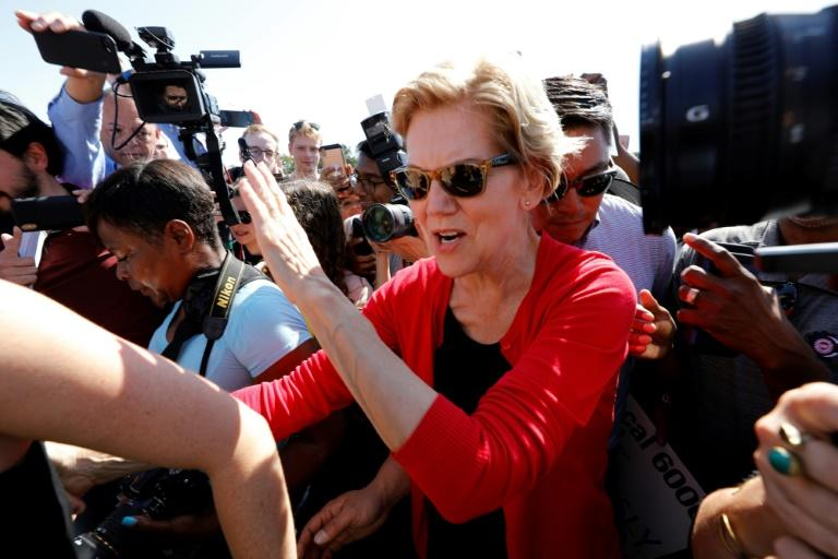 Elizabeth Warren, pictured this month, has overtaken ex-vice president Joe Biden in Iowa for the first time in the race for the Democratic presidential nod