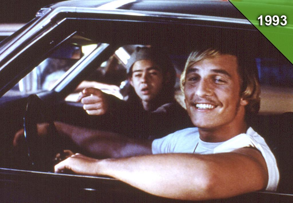"""<a href=""""http://movies.yahoo.com/movie/dazed-and-confused/"""">DAZED AND CONFUSED</a> <br>Directed by: Richard Linklater<br>Starring: Jason London, Wiley Wiggins, Matthew McConaughey"""