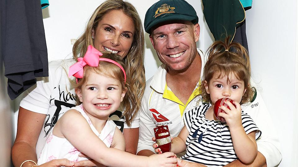 David Warner, pictured here with wife Candice and daughters Ivy and Indi in 2017.